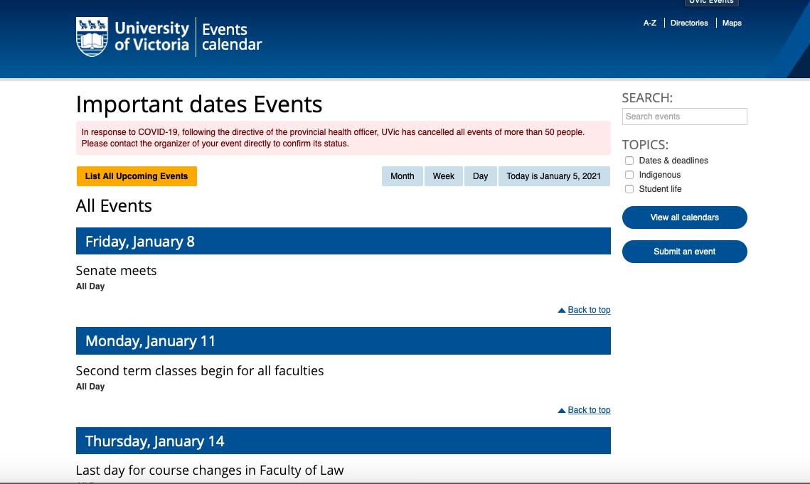 Important Academic Dates Uvic